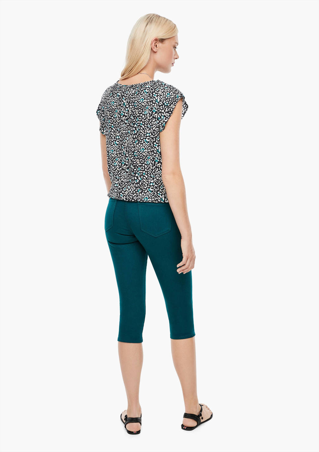 s.Oliver top met all over print en ruches marine, Marine