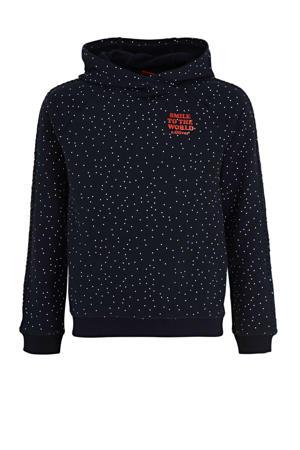 hoodie met all over print donkerblauw/wit/rood