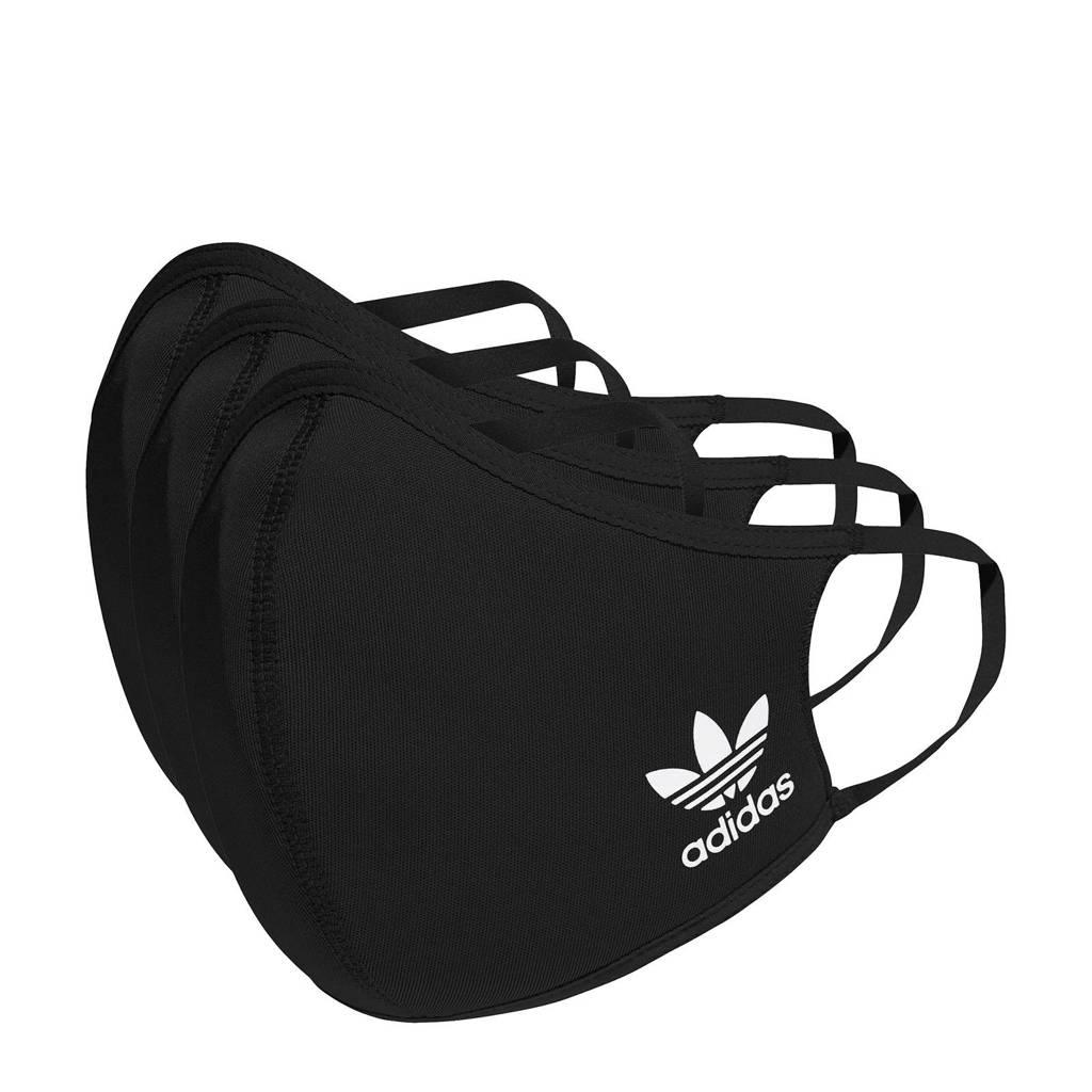 adidas Originals mondkapje - set van 3 zwart maat M/L, Zwart