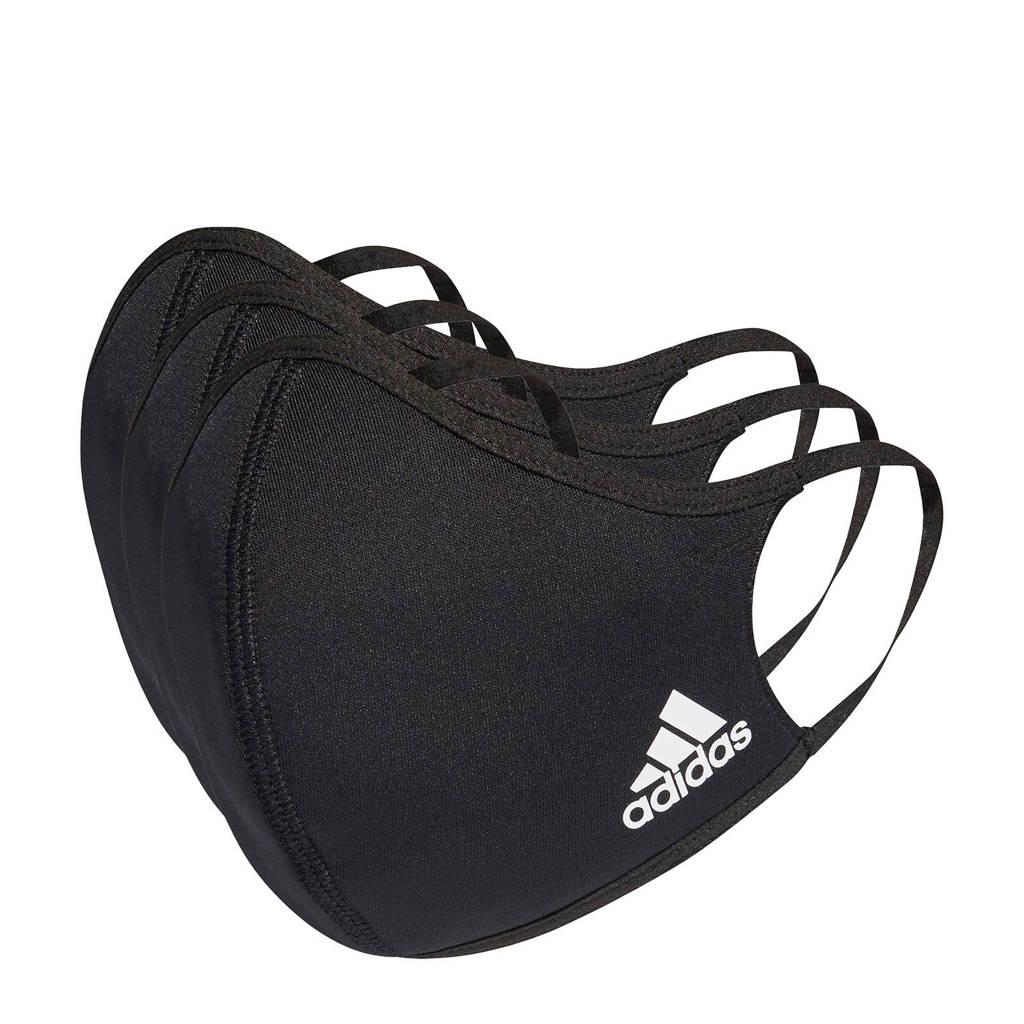adidas Performance mondkapje (set van 3) zwart/wit maat M/L, Zwart/wit