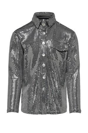 blouse Moon met all over print en glitters zilver
