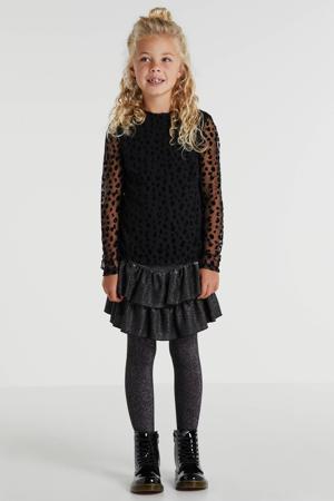 semi-transparante blouse Bessie met panterprint zwart