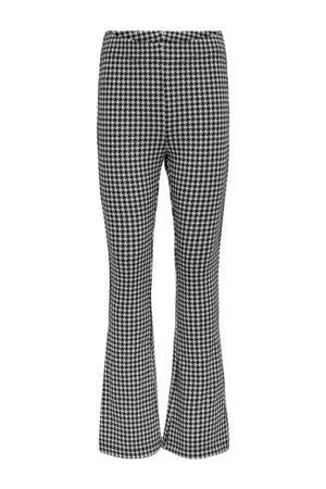 flared broek Crystal met pied-de-poule zwart/wit