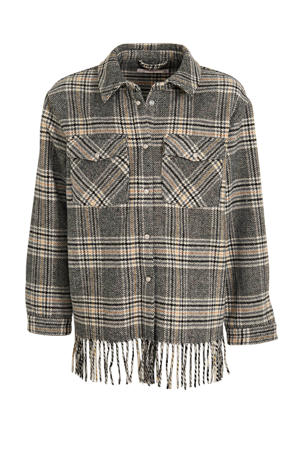 geruite blouse Rose grijs/zwart/geel