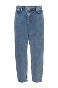 NOISY MAY high waist tapered fit jeans NMJUNE medium blue denim, Blauw