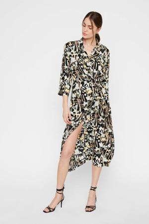 blousejurk met all over print zwart/ecru/geel