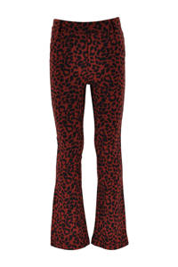 KIDDO flared broek April met panterprint donkerrood/zwart, Donkerrood/zwart