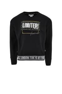 KIDDO sweater Danielle met printopdruk zwart, Zwart
