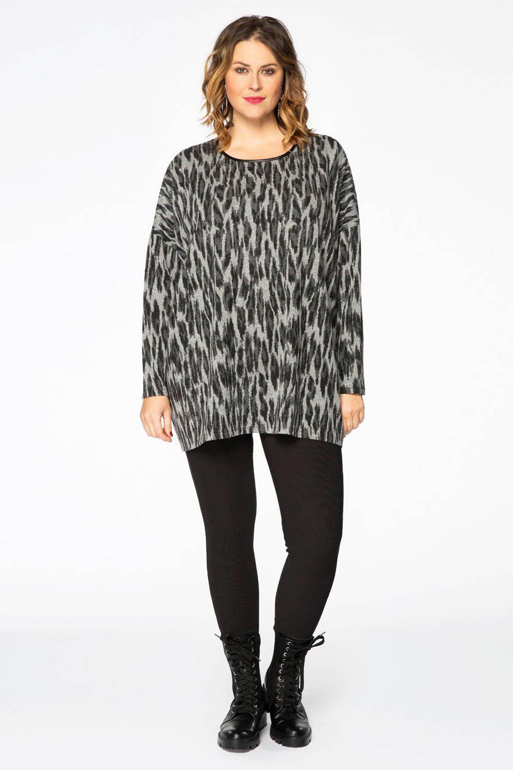 Yoek trui met dierenprint grijs/donkergrijs/zwart, Grijs/Donkergrijs/Zwart