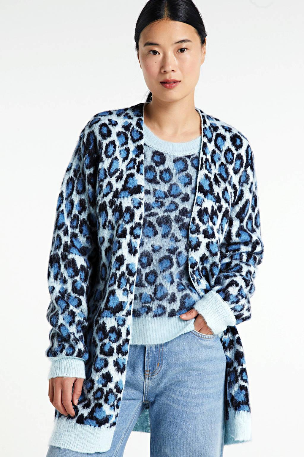 JACQUELINE DE YONG vest met all over print blauw, Blauw