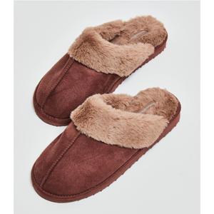 suedelook pantoffels met imitatiebont oudroze
