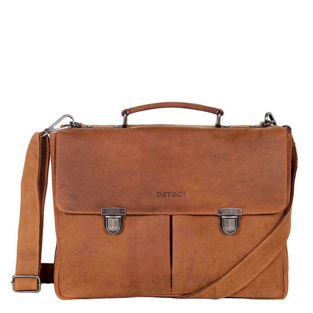 DSTRCT  15 inch laptoptas Wall Street cognac, Bruin