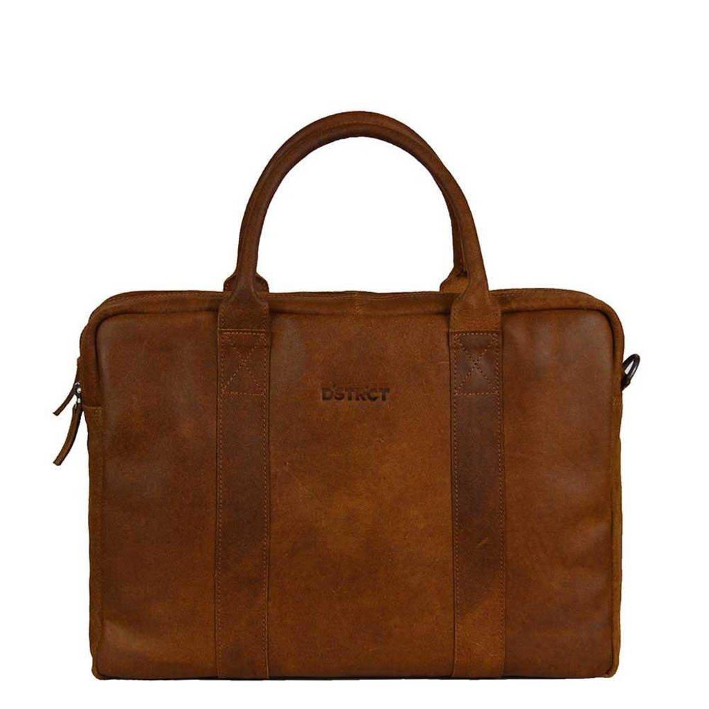 DSTRCT  15.6 inch laptoptas Main Street cognac, Bruin