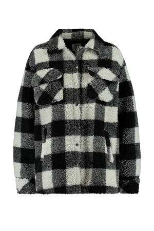 geruite teddy winterjas black/white