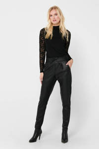 ONLY slim fit broek ONLPOPTRASH zwart, Zwart