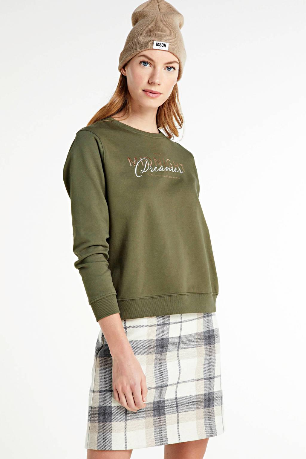 ONLY sweater ONLTILDA met tekst groen, Groen