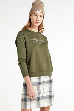 sweater ONLTILDA met tekst groen