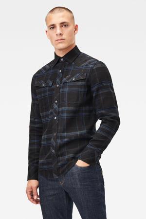 geruit slim fit overhemd zwart/blauw