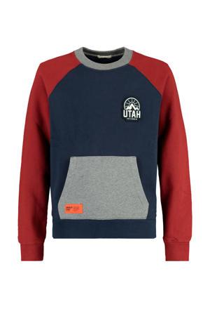sweater met patches donkerblauw/grijs/rood