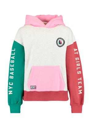 hoodie met patches beige/rood/groen/roze