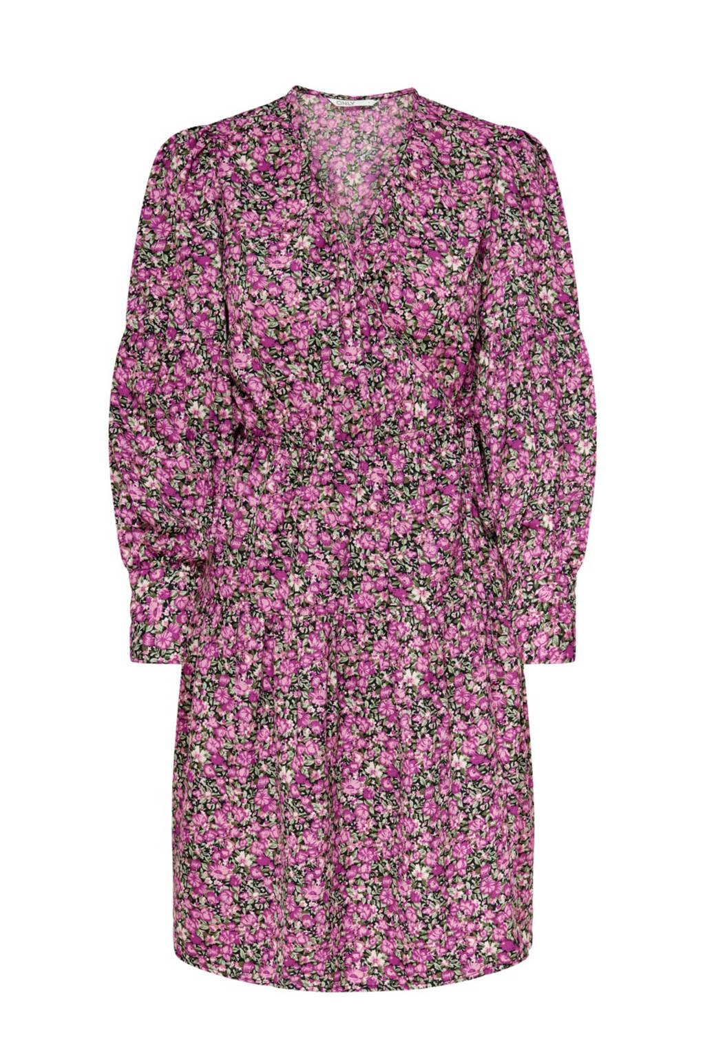 ONLY gebloemde A-lijn jurk roze, Roze