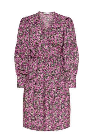 gebloemde A-lijn jurk roze