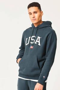 America Today hoodie Shane met printopdruk petrol, Petrol