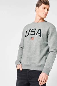 America Today sweater Shane met tekst grijs melange, Grijs melange