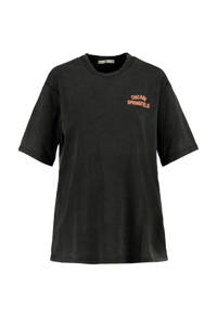America Today T-shirt met tekst washed black