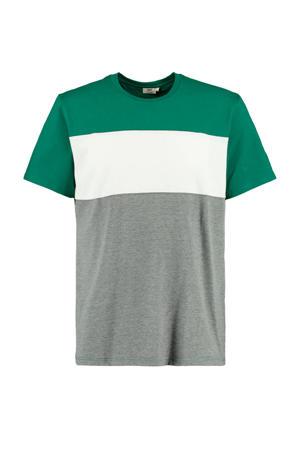 T-shirt Elroy groen/wit/grijs