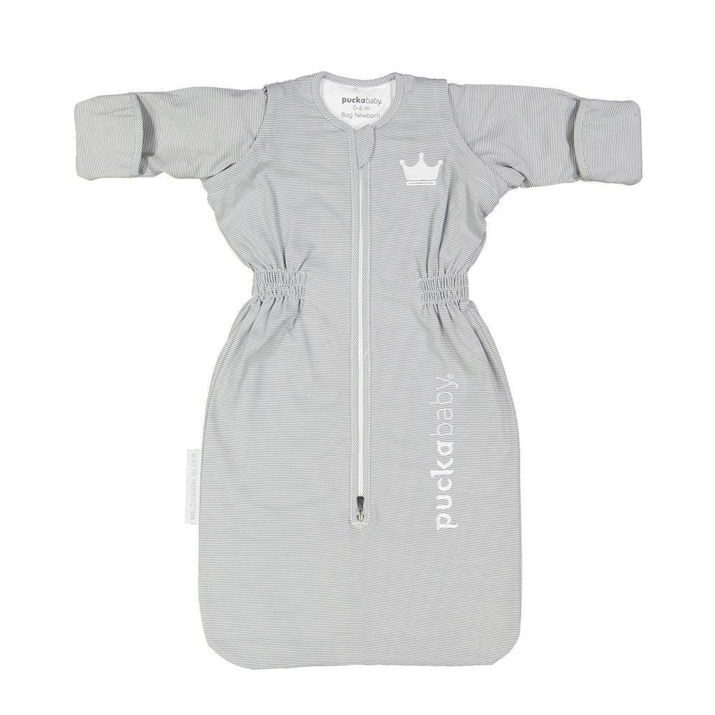 Puckababy The Bag Newborn baby slaapzak 0-6 mnd Grey Stripe, Lichtgrijs Grey Stripe