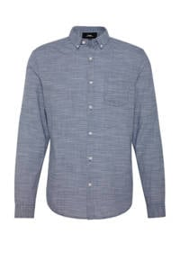 C&A Clockhouse gemêleerd slim fit overhemd blauw, Blauw