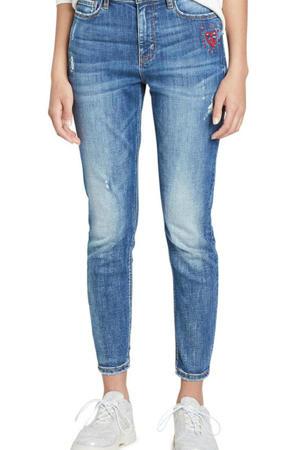 skinny jeans met printopdruk en borduursels blauw
