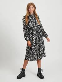 VILA jurk met all over print en plooien zwart, Zwart