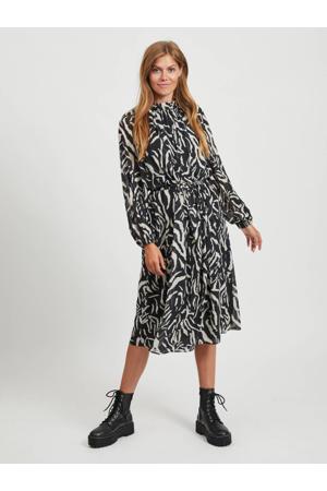 jurk met all over print en plooien zwart