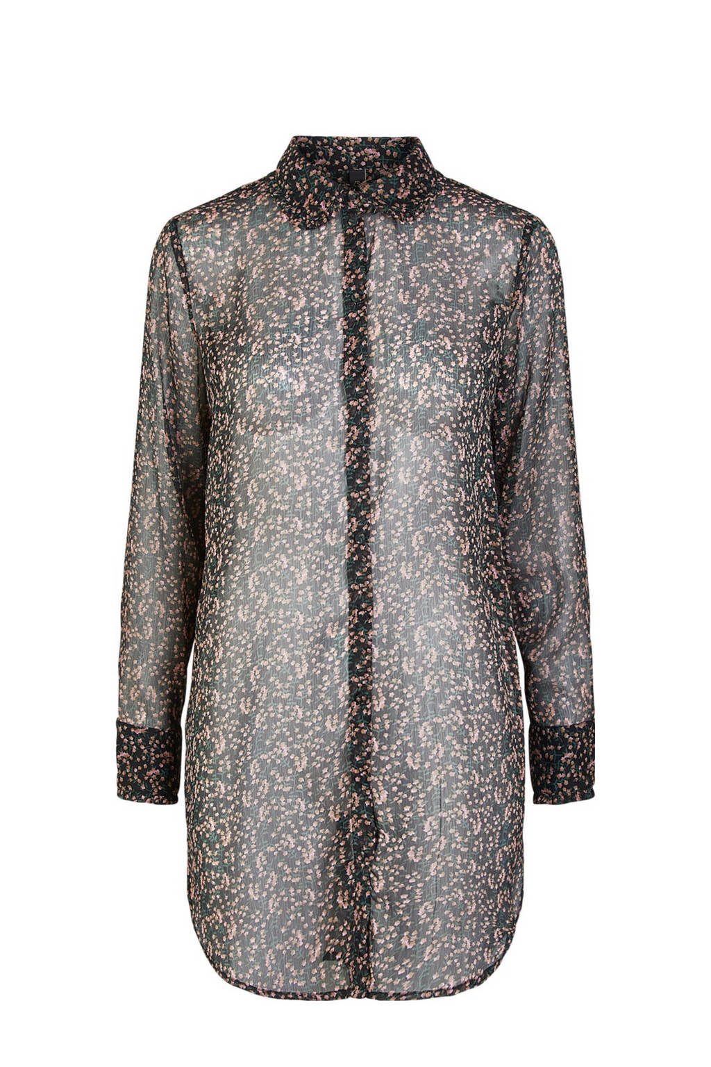 Y.A.S blouse met all over print zwart, Zwart