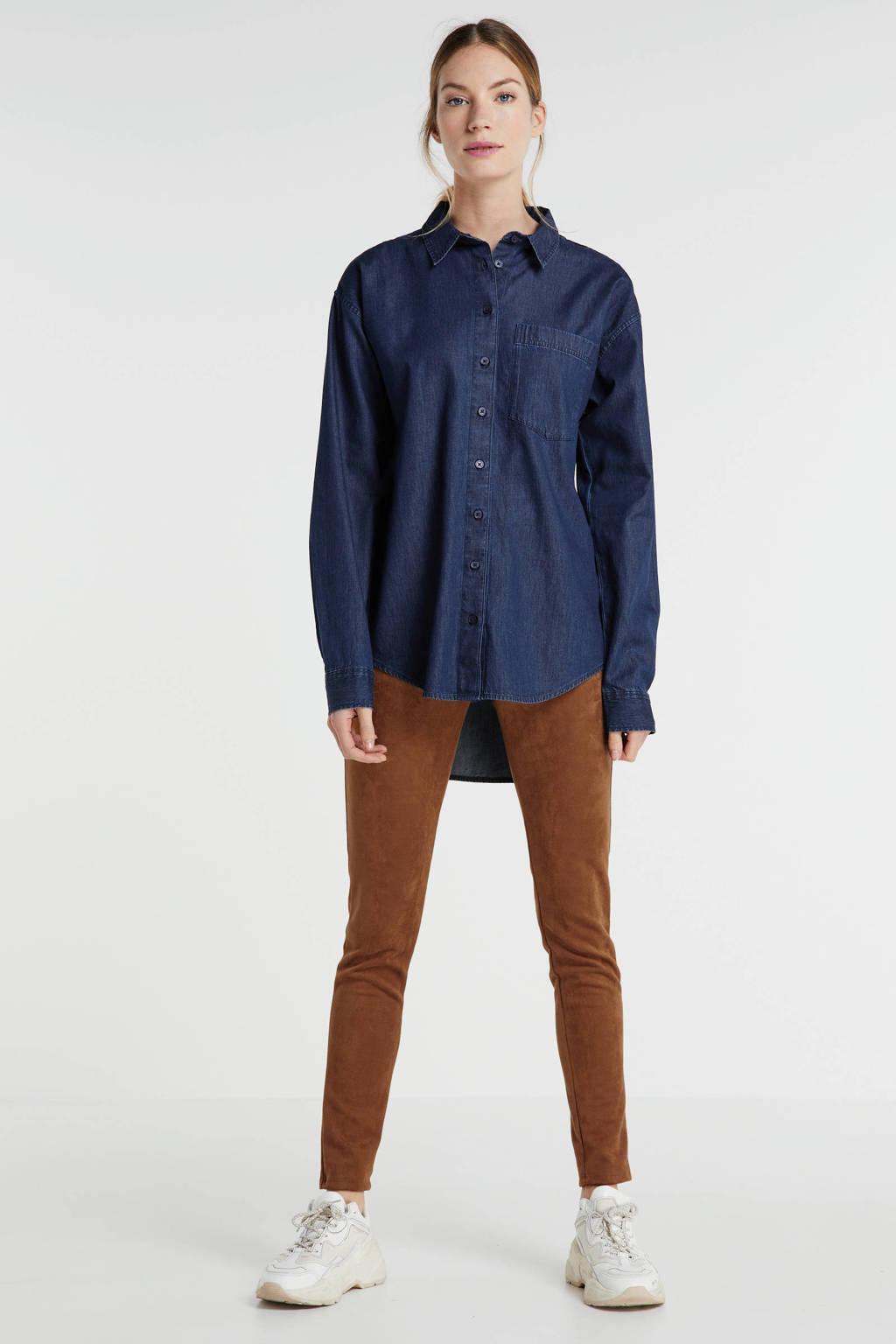 anytime Chambray boyfriend blouse dark denim, Donkerblauw