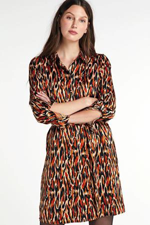 blousejurk Chloe van gerecycled polyester bruin/zwart/rood