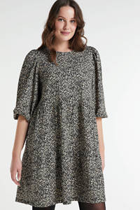 ONLY CARMAKOMA jurk Zilly met all over print zwart/wit, Zwart/wit