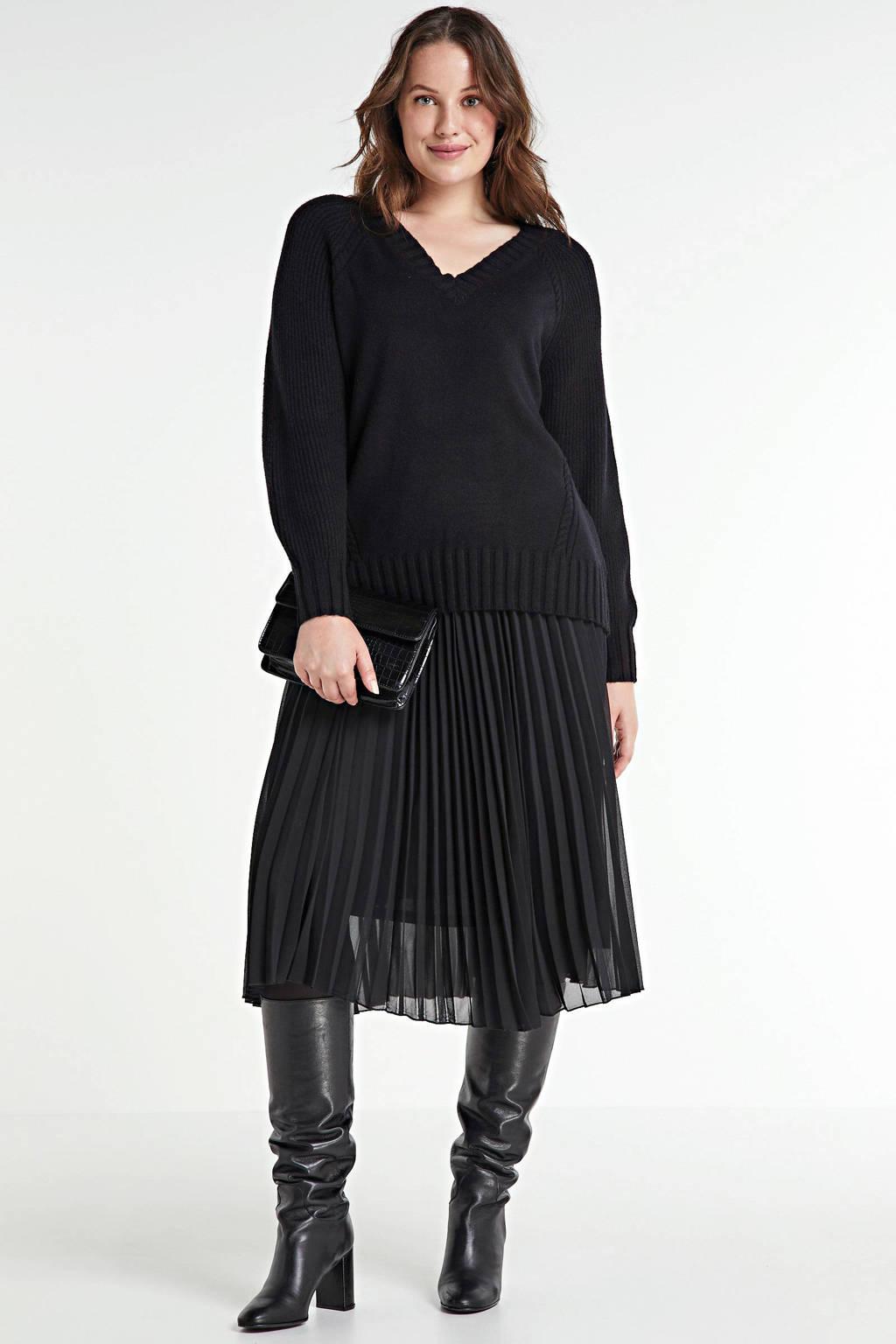 ONLY CARMAKOMA gebreide trui Sandie zwart, Zwart