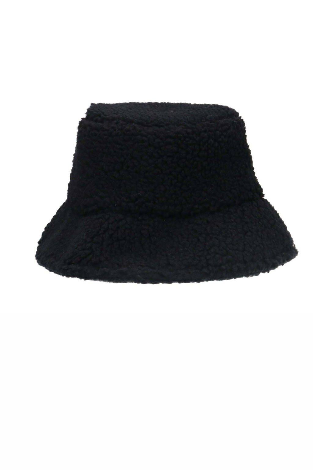 Sacha teddy bucket hat zwart, Zwart