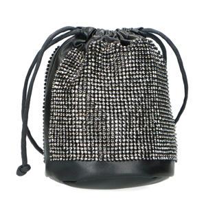 schoudertas met sierstenen zwart
