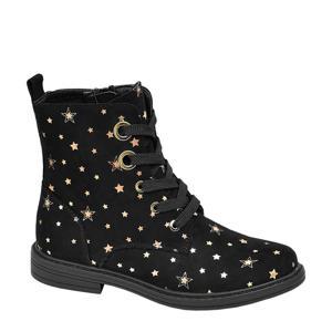 veterboots met sterren zwart/goud