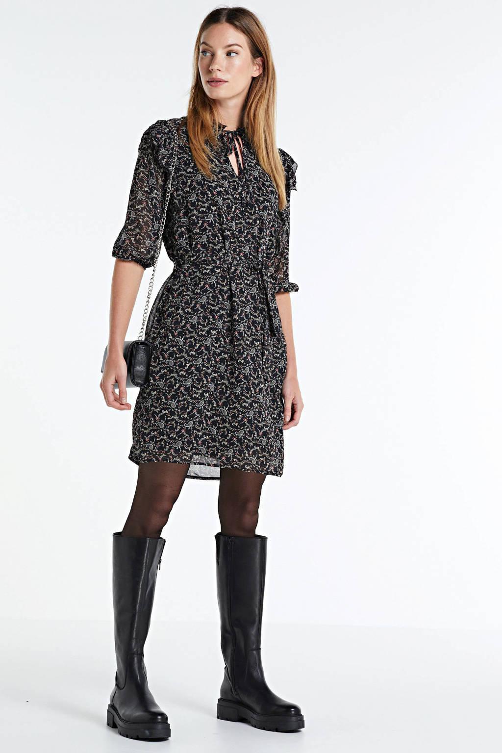 LOLALIZA jurk met paisleyprint en ruches zwart, Zwart