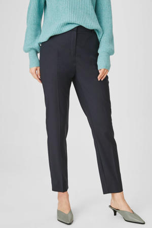 slim fit pantalon met wol donkerblauw
