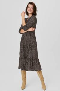 C&A Yessica maxi jurk met all over print en volant zwart/wit, Zwart/wit