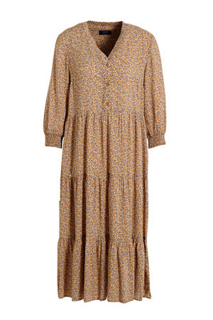 maxi jurk met all over print en volant lichtbruin/donkerblauw/wit