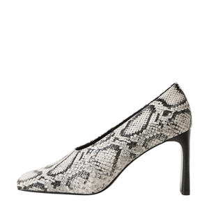 pumps slangenprint wit/grijs