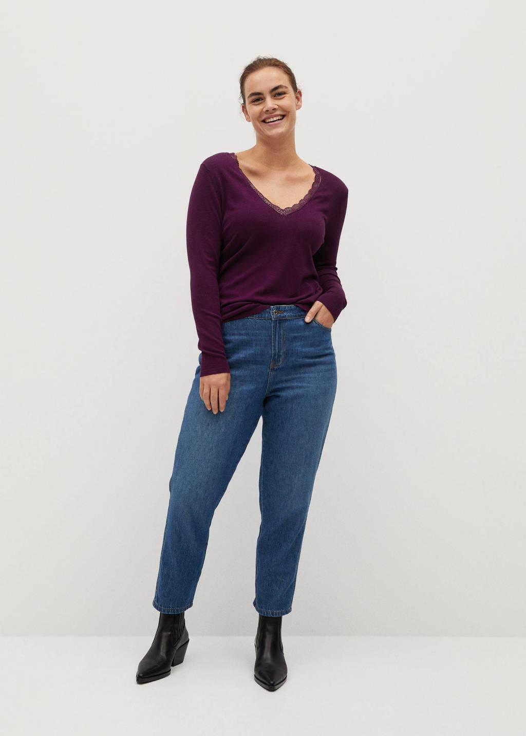 Violeta by Mango fijngebreide trui met kant donkerpaars, Donkerpaars