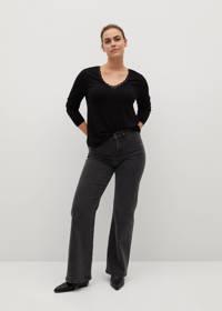 Violeta by Mango fijngebreide trui met kant zwart, Zwart